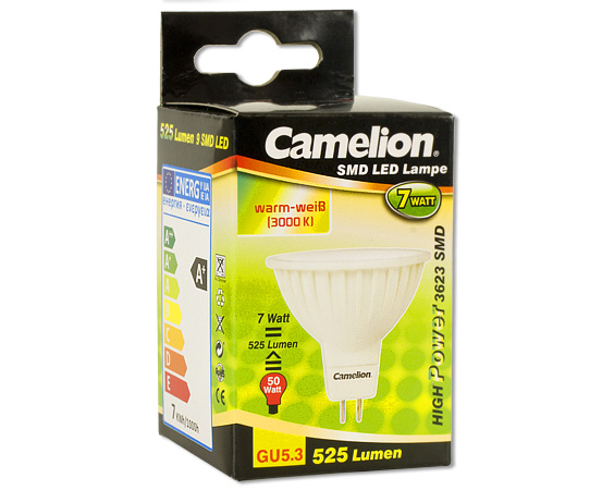 7w gu5 3 led saving lamps products camelion. Black Bedroom Furniture Sets. Home Design Ideas